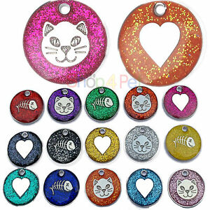 Cat-Dog-Tags-High-Quality-20mm-Reflective-Glitter-PET-ID-Tag-ENGRAVING-Options