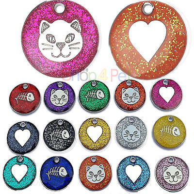 Pet ID Tag High Quality 20mm Reflective Glitter Cat & Dog Tags ENGRAVING Options