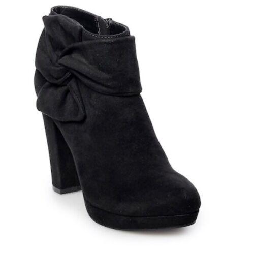 NEW Lauren Conrad Women/'s Eclair Bow Tie Suede Zipper Heels Blk #60889 190CD tk