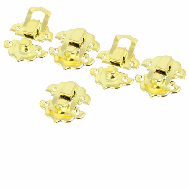 32mmx29mmx8mm Screw Fixed Catches Latches Locks Gold Tone 5pcs for Box Case