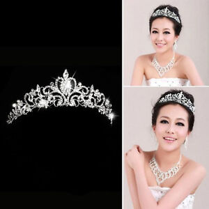 Image Is Loading Stunning Crystal Hair Tiara Bridal Princess Wedding Crown