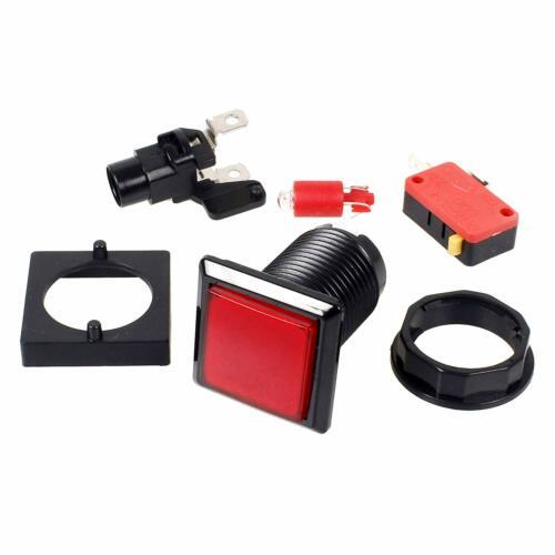 10x Arcade Square Shape LED Illuminated Push Buttons Switch DC 12V 33mm 5 Colors
