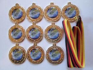 10 Angler-Medaill<wbr/>en mit farbigen Emblemen und Deutschland-Bä<wbr/>ndern