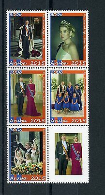 Aruba 2015 MNH Dutch Royal Family 5v Block King Willem-Alexander Maxima Beatrix