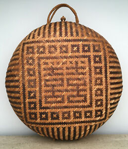 Vintage  Asian Woven Wicker Rattan Round Suitcase Picnic Basket Luggage Case