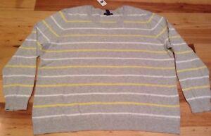 Gap-Women-2XL-XX-Large-Gray-amp-Yellow-amp-White-Stripes-Lightweight-Sweater-Nwt
