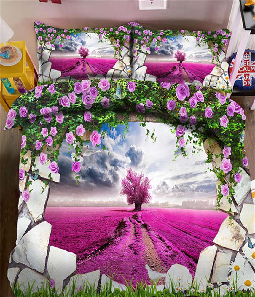 Lavender Garden 3D Printing Duvet Quilt Doona Covers Pillow Case Bedding Sets