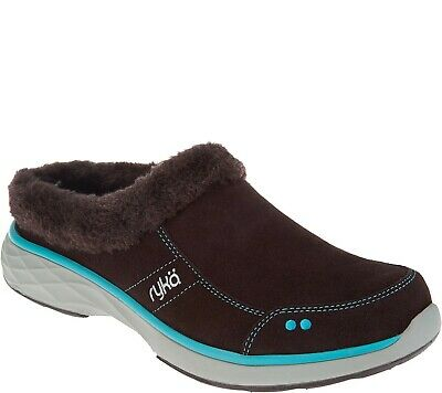 Ryka Suede and Faux Fur Slip-On Clogs