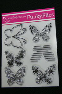 BUTTERFLY-Funky-Flies-6-Patterned-STAMPS-approx-6-5-x-6-5cm-Each-Stamp-L6