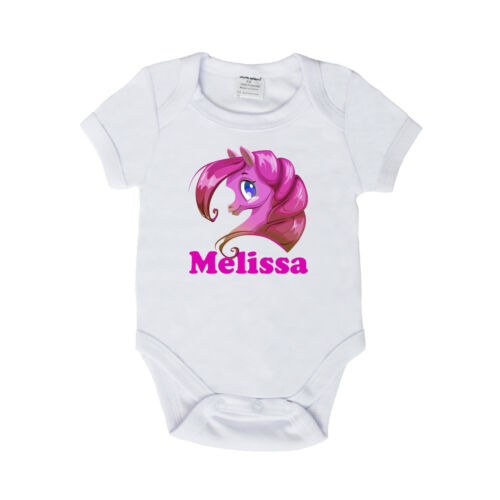 PERSONALISED BABY HORSE ROMPER SHORT SLEEVE SUIT GIRLS /& BOYS BRAND NEW