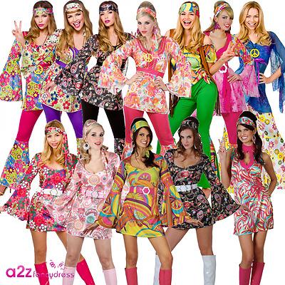 LADIES HIPPIE HIPPY 60S 70S GROOVY RETRO FANCY DRESS COSTUME FLARES UK SIZE 6-28