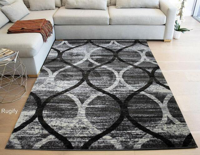 High Quality Gray Grey Off White 5 X7 Polyester Area Rug Modern