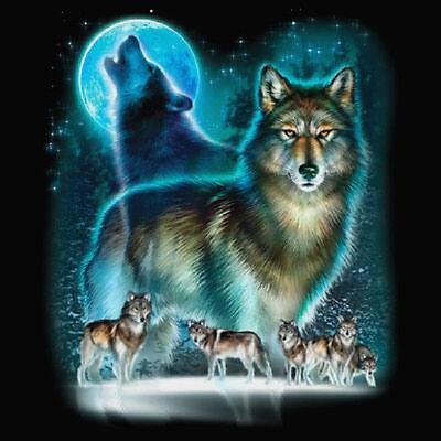 Wolf Spirit Moon 3//4 Sleeve Art Wolf Pack Lone Wolf Raglan Baseball Shirt Blue 568