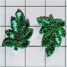 """XR293 Leaf Appliques Sequin Green Mirror Pair Beaded Motif 2"""" Set Of Two Leaves"""