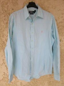 Chemise polo by RALPH LAUREN bleu clair coton manches longues 16 40/41 L