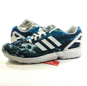 9e0a6a5bfb69 12 New adidas Originals Mens ZX Flux WAVES Ocean Print Blue White ...