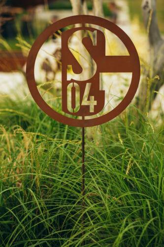 FC Schalke 04 Gartenstab S04-020 Schalke Logo Ferrum Art Edelrost Deko S04