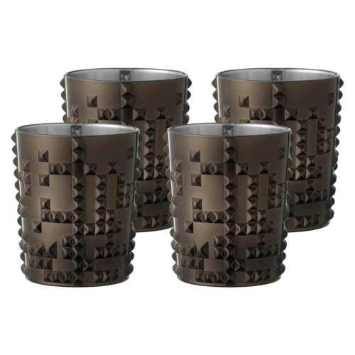 4er Set Nachtmann Punk Becher Metal Grau Whiskyglas für Whisky Cocktails Wasser