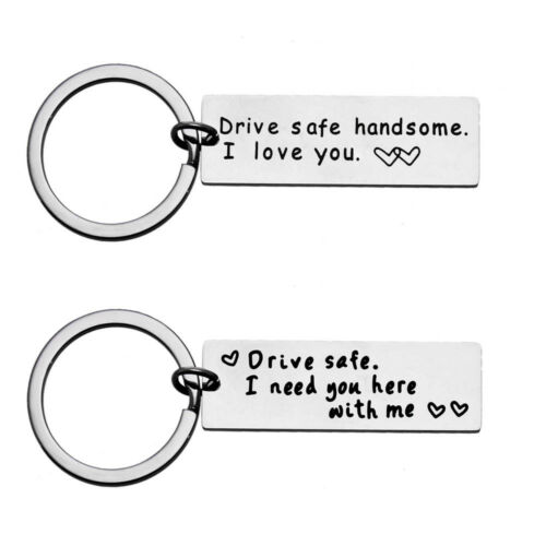 /'Drive Safe/' Trucker Keychain Gift Lover Couple Husband Boys Dad Key Chain Ring