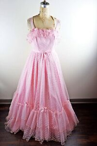 vintage 1950s mike benet pink cupcake lace ruffled prom