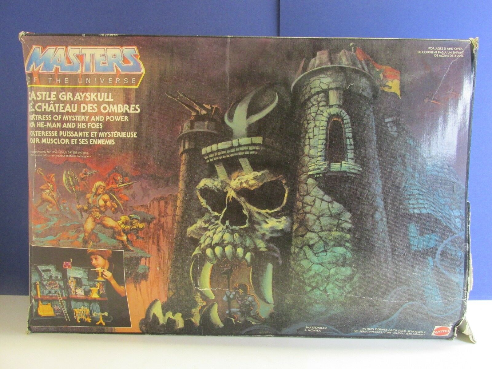 BOXED vintage HE MAN CASTLE grauSKULL grauSKULL MOTU master of the universe 95c