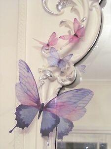 Pareti Lilla Camera Da Letto.Dettagli Su Decorazioni A Farfalla 3d Rosa Lilla Mobili Per Camera Da Letto Frizzante Specchio Parete Mostra Il Titolo Originale