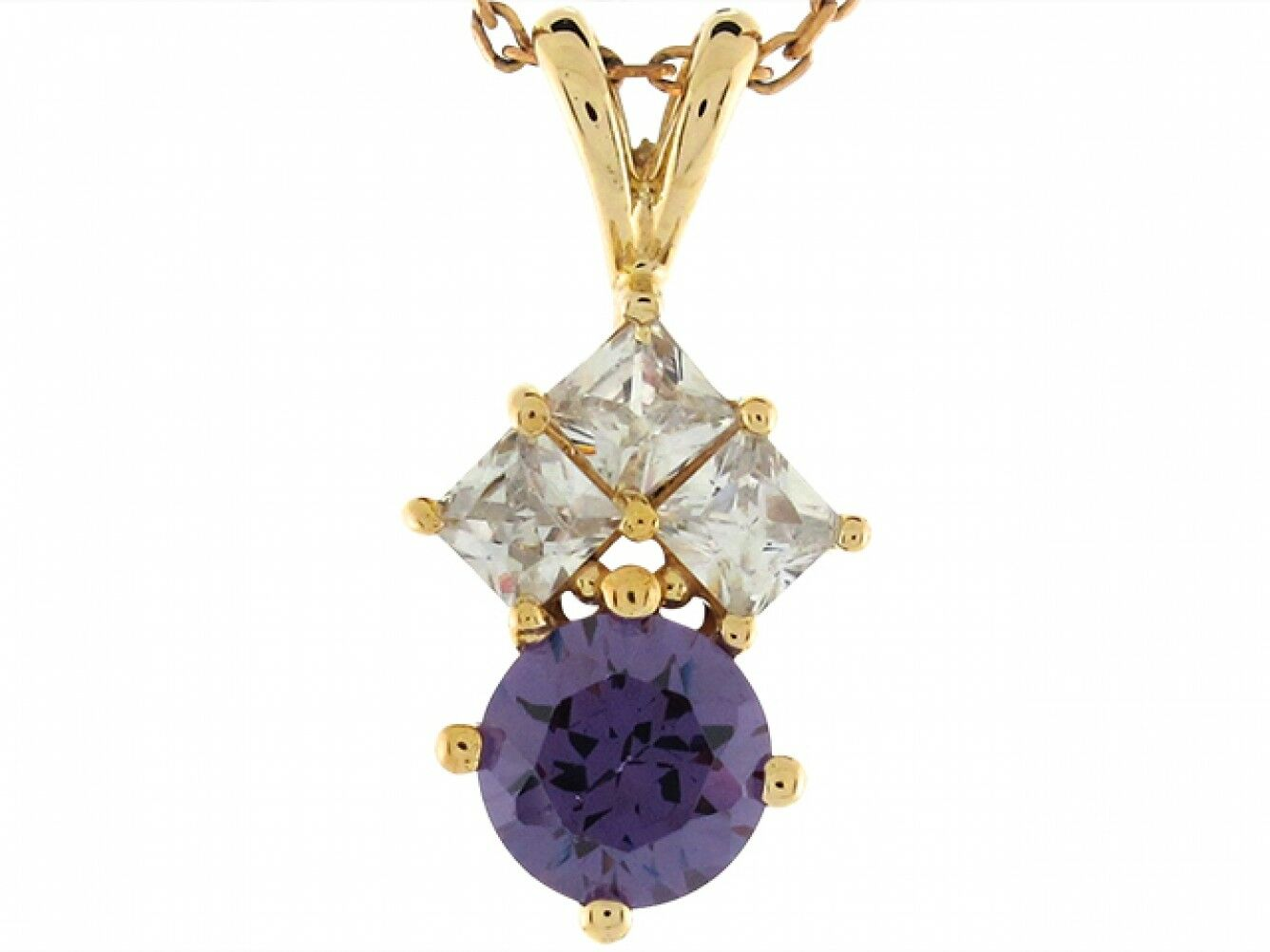 14k Real Yellow gold Simulated Amethyst and CZ Heart 1.9cm Ladies Pendant