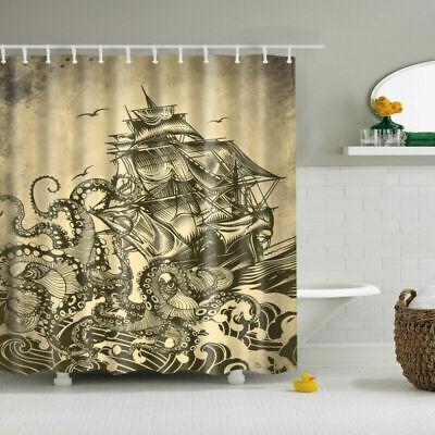 Octopus King Polyester Waterproof Bathroom Fabric Shower Curtain 12 Hook