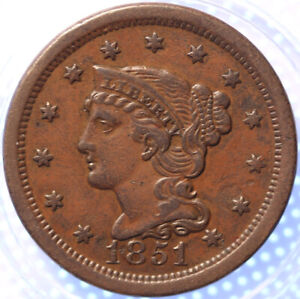 1851-034-BRAIDED-HAIR-034-LARGE-CENT-NICE-TYPE-COIN-PROBLEM-FREE-COIN