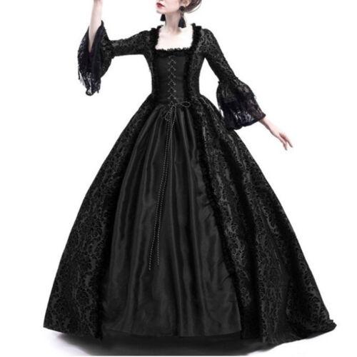 Neu RETRO Damen Mittelalter Bell-Ärmel Kleid Renaissance Gothic Kostüm Gr.S-3XL