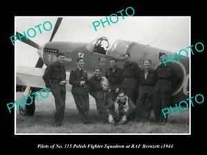 OLD-LARGE-HISTORIC-PHOTO-POLAND-MILITARY-POLISH-FIGHTER-SQUAD-RAF-BRENZETT-1943