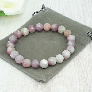 Handmade Natural Lilac/Purple Jasper Gemstone Stretch Bracelet & Velvet Pouch.