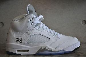 best service 5b8bd c91d9 Image is loading Nike-Air-Jordan-5-034-Metallic-Silver-034-