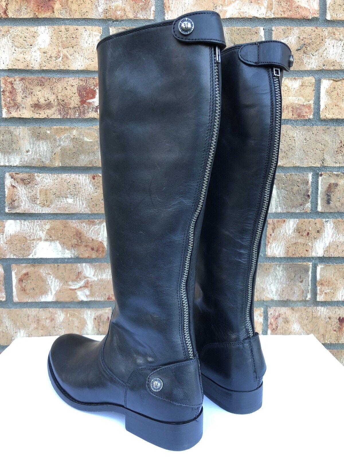 Women's Frye Frye Frye Melissa Button Back Zip Black Leather Knee High Riding Boots bdf69a