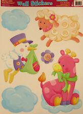 BABY GIRL themed wall stickers 6 decals nursery decor stork lamb pink giraffe +
