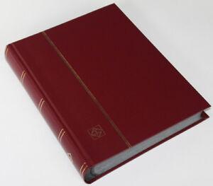 64 schwarze Seiten LEUCHTTURM Einsteckbuch Briefmarkenalbum Einband weinrot watt