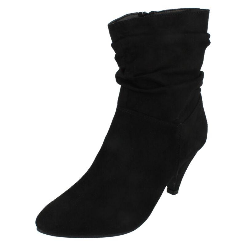 Donna F5r0897 Nero Dettaglio Increspato Zip Stivali Caviglia Da Spot On