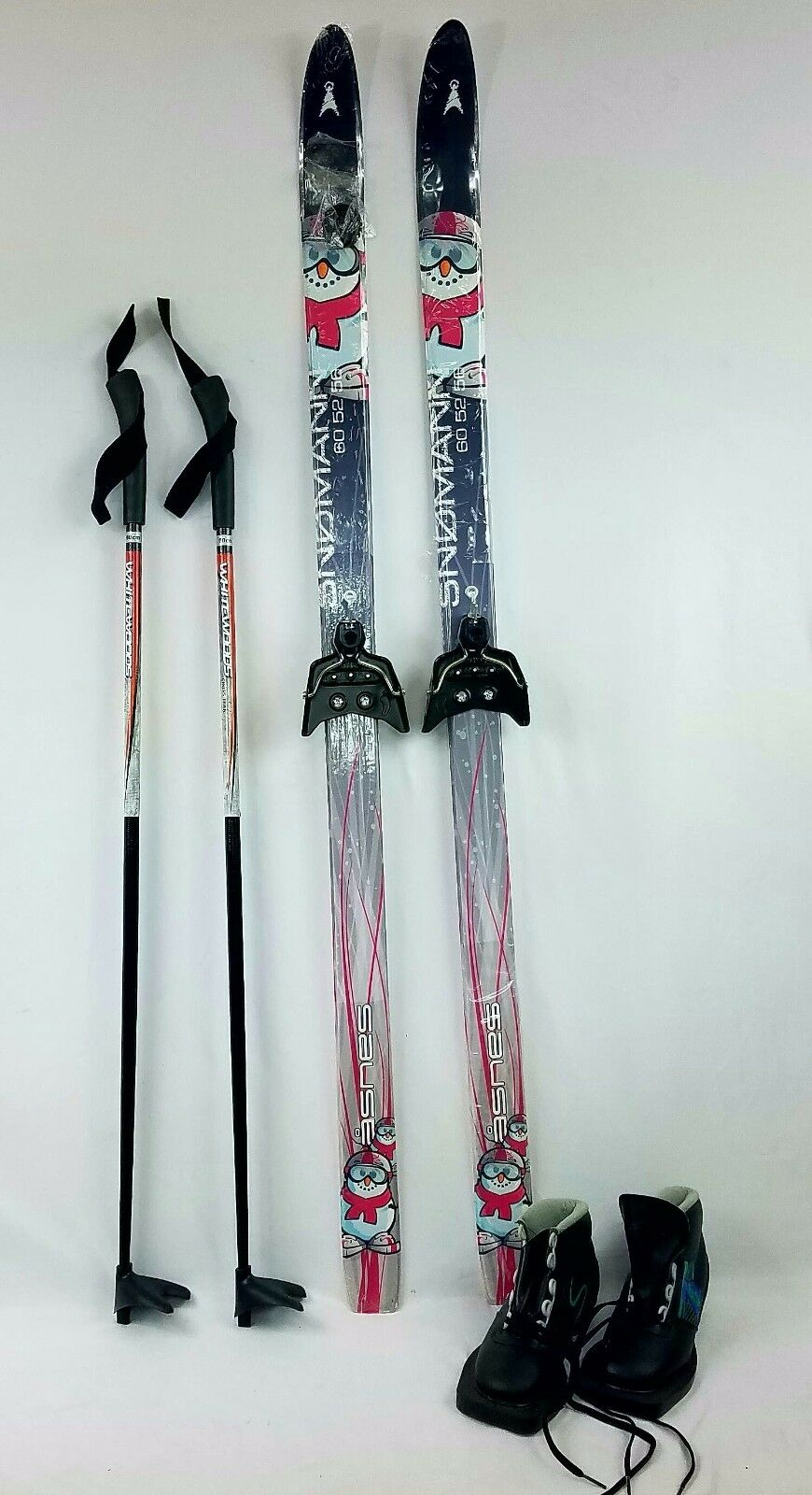 Kids Cross Country Package, 90 cm Asnes Snowman Skis, 3 PIN Stiefel & BDG Fitted