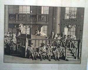 Rosh-Hashanah-1778-Rare-Print-Sounding-of-the-Ram-039-s-Horn-Amsterdam-Synagogue