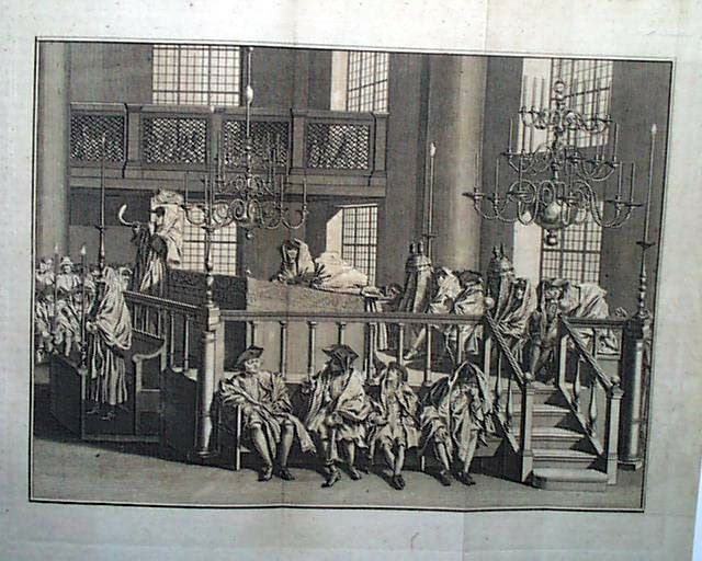 Rosh Hashanah 1778 Rare Print Sounding of the Ram's Horn - Amsterdam Synagogue