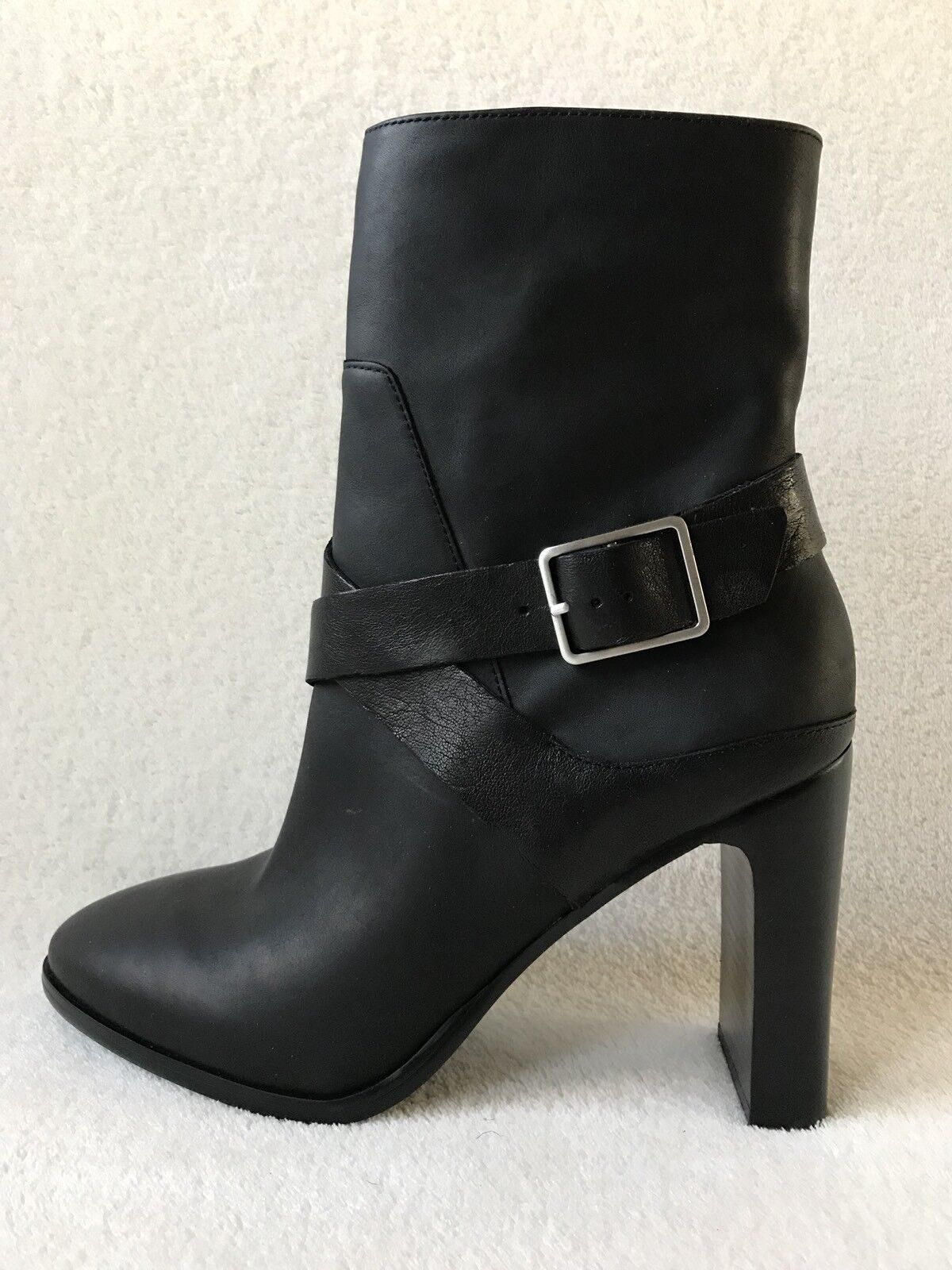Aldo Black Leather Mid Shaft Buckle Strap Heel Booties Boots Womens 10 *New*