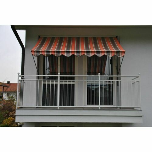 Klemmmarkise Markise Sonnenschutz Orange-Braun-Creme Gestell graubraun NEU//OVP