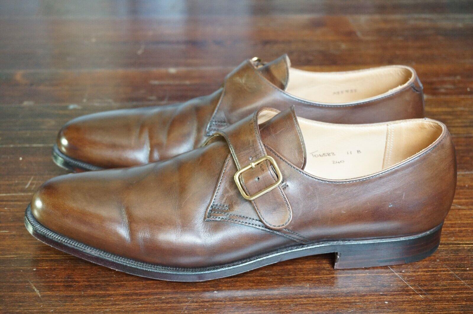 660 CROCKETT & JONES Monkton US 11 B UK 10 Monk Strap marron handgrade