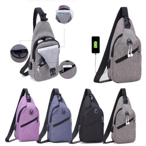 Men/'s Shoulder Bag Sling Chest Pack With USB Charging Sports Crossbody Handbag