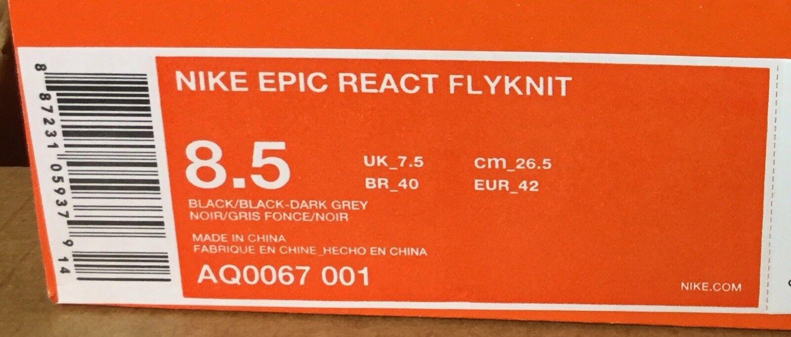 Nike epico reagire nero flyknit morto stock nero reagire grigio scuro Uomo 8,5 aq0067 001 venduto 03eb60
