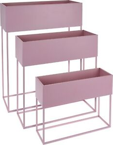 Set-Of-3-Indoor-Plant-Pot-On-a-Stand-Pink-Metal-Tall-Rectangle-Tiered-Planter