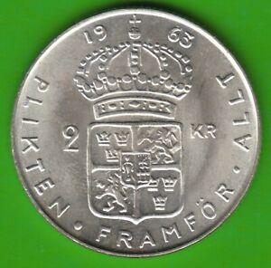Sweden-2-Kronor-1963-Silver-Almost-Bu-Good-nswleipzig