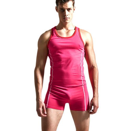 Men/'s One-Piece Stretch Bodysuit Leotard Tank Top Boxer Briefs Underwear Singlet
