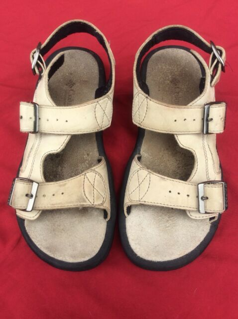 Women's Columbia Gladiator Leather Buckle Strap Sandals Size 8 Tan Color