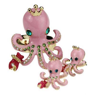 Vintage punk goth biker octopus charm earrings ring